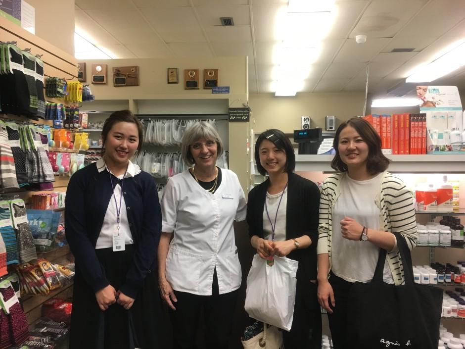 photo: Spokane pharmacist pictured with three Japanese student pharmacists on international rotation