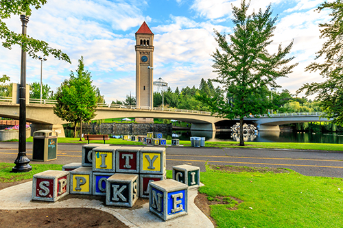 looking at the clock tower in Riverfront Park in Spokane