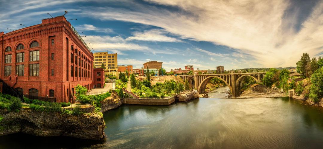 Panorama of the Spokane River and Monroe Street Bridge