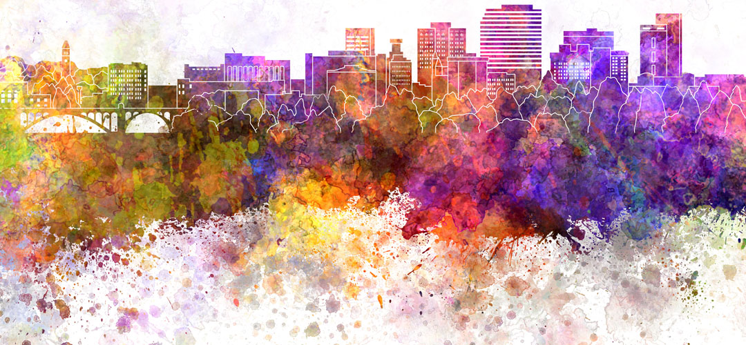 watercolor artwork of Spokane city skyline